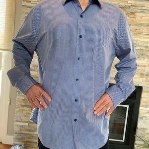 Tasso Elba XL blue rounded squares dress shirt